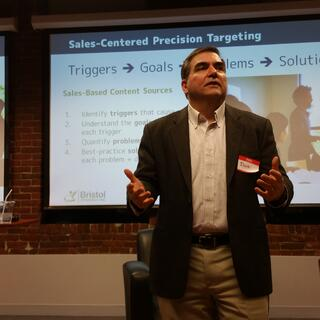 Dave Orrechio of Bristol Strategies presenting on the CMB at the Boston HubSpot User Group meetup in February 2016
