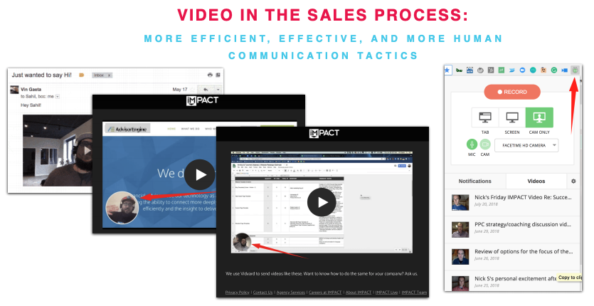 Examples of IMPACT using video in the sales process